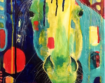 Apple? - Horse Painting - Original Acrylic Art on Stretched Canvas - 12 x 16 inches (30 x 41 cm)