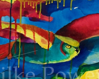 New Horizons - Owl Painting - Original Acrylic Art on Stretched Canvas - 10 x 30 inches (26 x 76 cm)