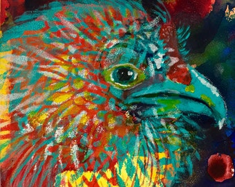 Fresh Start - Chicken Painting - Original Acrylic art on Gessobord - 5 x 5 inches (12 x 12 cm)