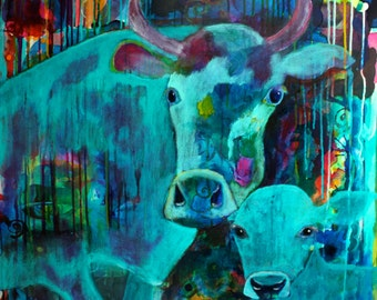 The Observers - Cow and Calf Painting - Original Acrylic Art on Stretched Canvas - 30 x 30 inches (76 x 76 cm)