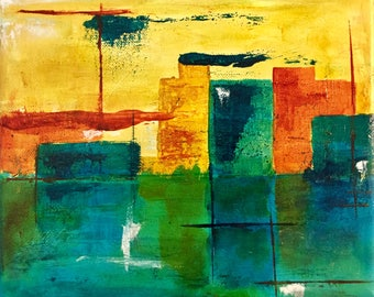 Cityscapes (Series of 3) - Abstract - Original Acrylic Art on Stretched Canvas - 8 x 10 inches (20 x 25 cm)