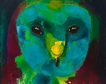 In the Night - Owl Painting - Original Acrylic art on Gessobord - 5 x 5 inches (12 x 12 cm)