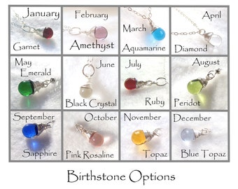 Additional Teardrops for Birthstone necklaces - Sterling Silver wrapped - FREE SHIPPING with purchase.
