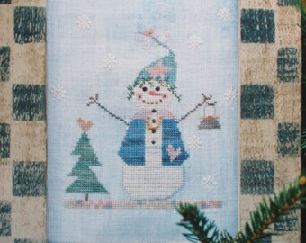 Snowwoman/Counted Cross Stitch Pattern by Fanci That/1994/Winter Scene/Wall Hanging/Needlecraft