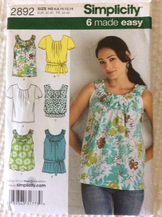 Simplicity 2892 Misses Tops Summer Tops Tank Tops Blouses Etsy