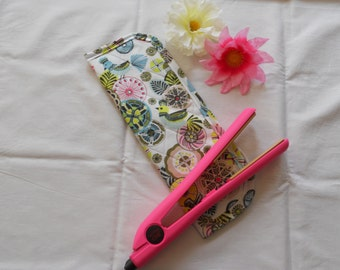 Hair Straightener/Curling Iron Heat-Resistant Cover - Modern Birds