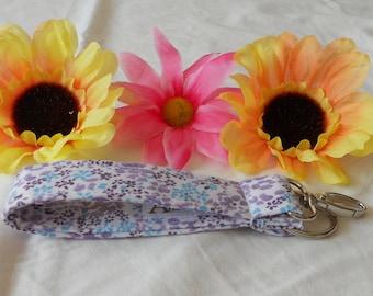 Keychain Wristlet - Purple Flowers