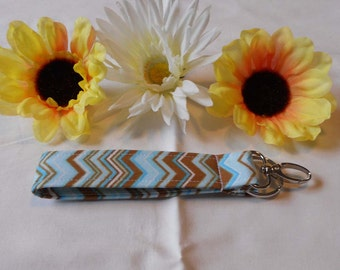 Keychain Wristlet - Blue and Brown Chevron