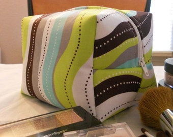Makeup Bag - Green and Blue Stripes