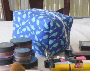Makeup Bag - Blue and Turquoise Birds