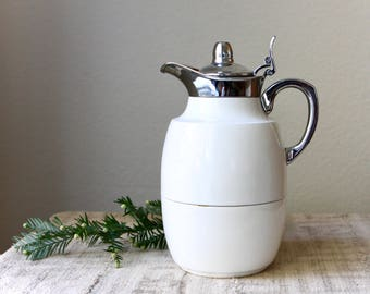 Vintage Mid Century Alfi Juwel Thermal Carafe, West Germany, White Lacquered Metal with Chrome Accents