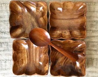 Vintage Set of 4 Hand Carved Monkey Pod Bowls and Spoon