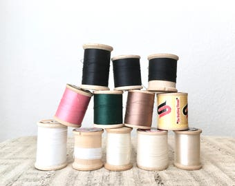 Vintage Large Wooden Sewing Spools, Set of 12