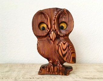Vintage Wooden Witco Style Carved Owl