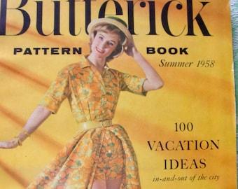 Vintage 1950s Butterick  PATTERN BOOK Catalog Magazine - - Summer 1958  with 64  Pages / 100 Vacation Ideas