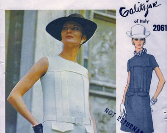 UNCUT * GALITZINE Designer Vogue Couturier Pattern 2061 * GLAM Day or Evening A-line Dress  - with Vogue Label // Size 12, Bust 34