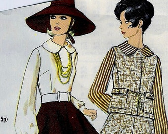 UNCUT * 1960s Vogue Pattern 7665  - Misses' Suit and Blouse, Flared Mini Skirt Vest   - Size 8 * bust 31.5