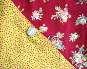 SALE Antique Vintage Cotton Fabric QUILT Top with Early Small Print Cheddar Fabrics - RARE 88 x 73