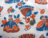 Vintage FEEDSACK Cotton Novelty Fabric - PRETTY LADIES in Ball Gowns with Umbrella 39 s, Fans Presents on White Background - 37 x 42
