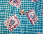 Vintage FEEDSACK Novelty Fabric - Beautiful Aqua Blue Background w Flower Pots inside Picture Frames - 36 x 44