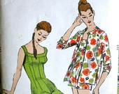 Vogue Bathing Suit Pattern 8864 - UNCUT Vintage Swimsuit Swim Suit One Piece and Cover Up Jacket Size 12 Bust 30