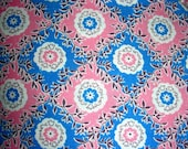 Vintage Cotton Feedsack FEED Sack Fabric - - PRETTY Pink and Blue Background with Sweet Flowers - 36 x 46
