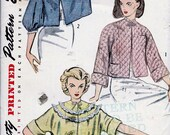 UNCUT 1950s Simplicity Pattern 3735 Ladies 39 Bed Jacket with Optional Quilting Bust 34-36