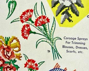flowers. Vintage uncut \u201cPond Lilies\u201d wall hanging design for crayon art McCall\u2019s kaumagraph transfer pattern 1010 Dragonfly