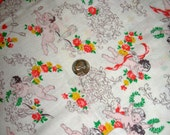 Sale Vintage Feedsack Cotton NOVELTY Fabric - Sweet CHERUBS, Hearts, Orange and Yellow Florals on White Background- 36 x 44 RARE