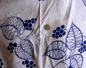 Vintage Full Cotton Feedsack Fabric Pretty NAVY BLUE Leaves and Dots on White Background 36 x 41