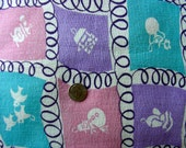 SALE Vintage Feedsack Cotton Fabric - ADORABLE Novelty Feedsack Purple Pink Turquoise White CHARMS - 36 x 44