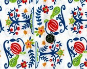 Vintage FEEDSACK Novelty Cotton Fabric - Apple Trees in Lime Green, Red Blue - 36 x 48