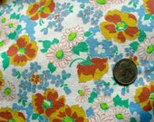 SALE Vintage Feedsack Cotton Quilting Fabric - STILLaSACK - SWEET Little Lime Green Blue Flowers on White 35 x 44