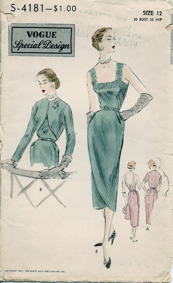 """Vintage 1950/'s Sewing Pattern Vogue Evening Ball Gown /& Bolero Bust 31/"""" Hip 33/"""""""