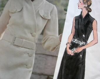 PIERRE BALMAIN - A-Line Day Evening Length Dress Asymmetrical Closure Vogue Pattern 2696 Paris Original Designer * Size 14, Bust 36