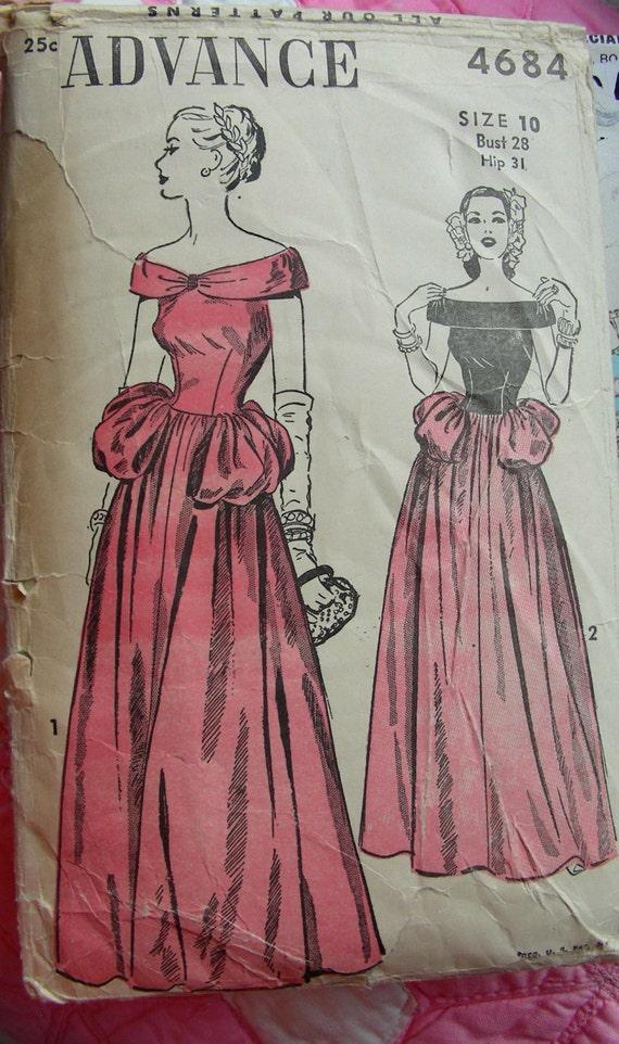 1940s Vintage Advance Pattern 4684 ELEGANT Off Shoulder   Etsy