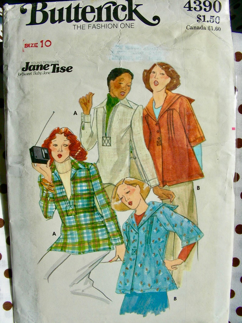 Size 8 bust 31.5 or Size 10  Bust 32.5 UNCUT Vintage Butterick Pattern 4099  Young Designer JANE TISE Sailor Blouses or Tunic Tops