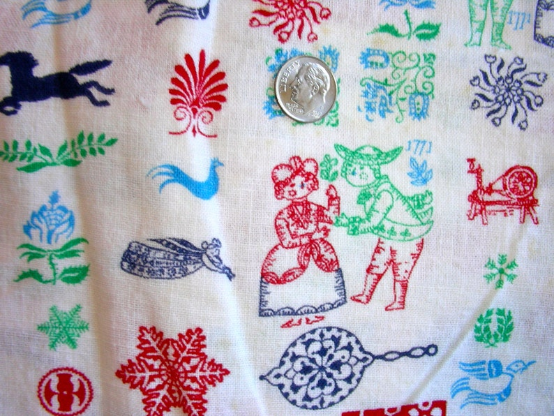 35 x 42 Vintage NOVELTY Feedsack Cotton Quilting Fabric Historial Couple from 1771 Birds Horses Angels