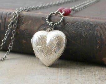 Birthstone Locket Necklace, Genuine Ruby Locket, July Birthstone, Sterling Silver Locket Pendant, Silver Round Locket Pendant, Push Gift