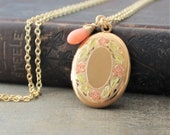 Gold Enamel Locket Pendant Gold Oval Locket, Gold Photo Locket Necklace, Push Present, Coral Jewelry, Push Gift for Her, Floral Locket