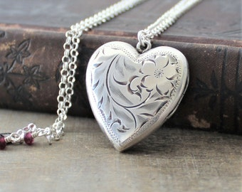 2e09530aeb6634 Large Silver Heart Locket Pendant, Sterling Silver Locket Necklace, Garnet  Locket, January Birthstone Locket, Push Gift for Her Mothers Day