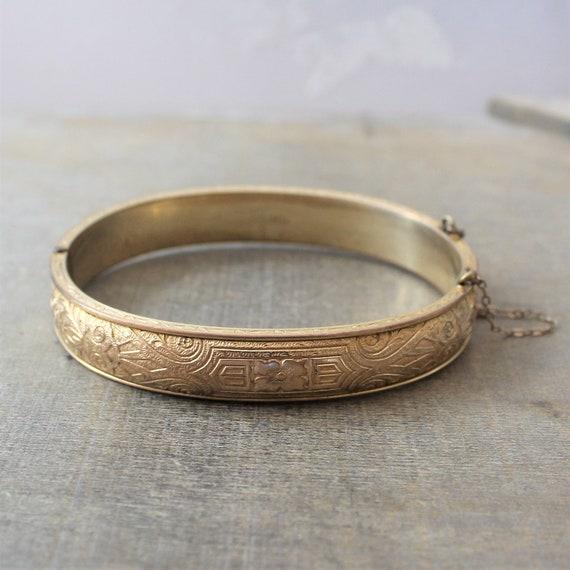 Gold Bangle Bracelet, Gold Cuff Bracelet, Engraved