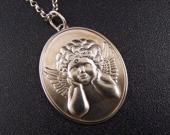 Angel from old France..Sterling Silver Pendant Original Unique Handmade