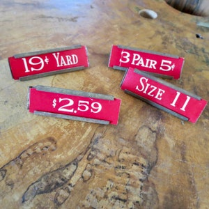 price labels for vintage display general store memorabilia red 5 and dime store tags 4 Vintage Woolworth store tags with tin holders