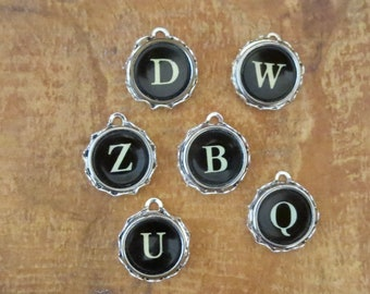 6 vintage typewriter key pendents in bezels/ Ready to use for typewriter key necklaces/ Black and white typewriter keys letters: B D Q U W Z