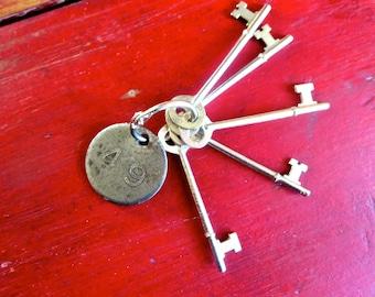 Vintage skeleton keys 5 Old skeleton keys Antique keys Skelton key group Original skeleton keys Old keys Assorted Used keys German keys #6
