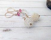 Pink Topaz and Gold Long Dangle Earrings Statement Jewelry Crystal Vintage Gold Filled Drops Birthday Gifts for Her Sister Under 50