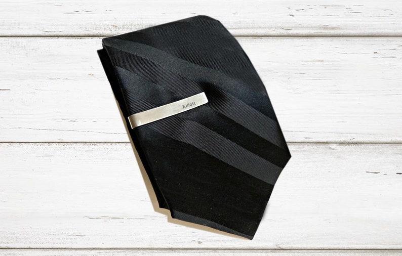 Mens Tie Clip  Silver Tie Bar Initials Personalized  Custom  Gifts for Men Teacher Anniversary Gift  Groomsmen Birthday Under 25