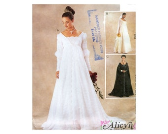 256edfe43e7 Renaissance Wedding Gown Pattern Empire Waist Tapered or Ruched Sleeves  McCalls 3053 Alicyn Costume Sewing Pattern Bust 42 44 46 Plus Size