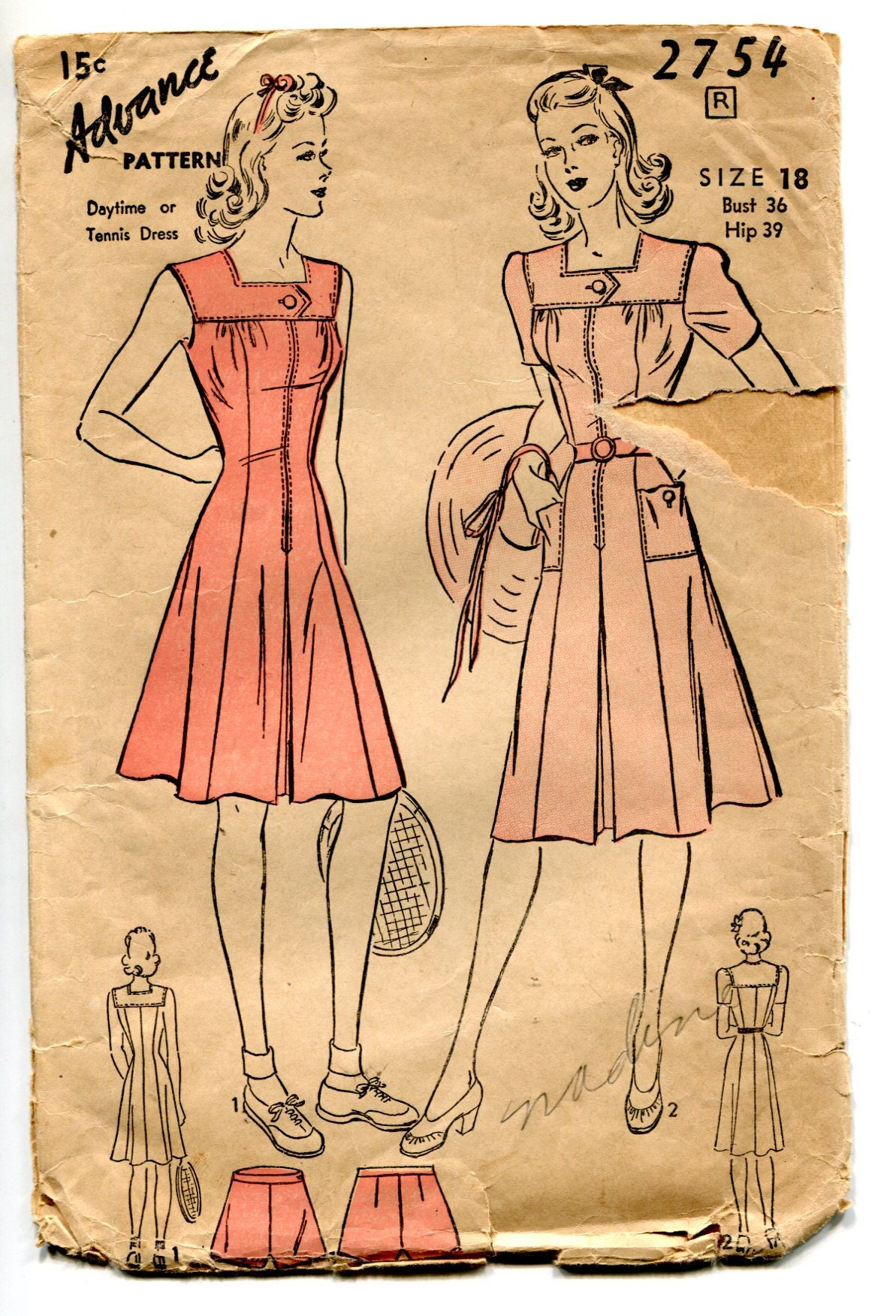 Advance 2754 WW2 1940s day or tennis dress and panties pattern